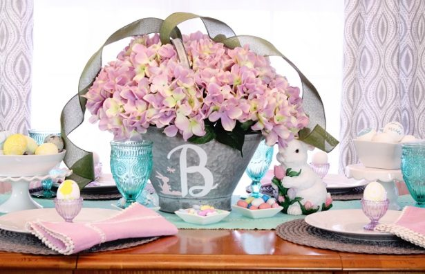 Easter Brunch Hydrangea Flower Arrangement With DIY Monogram | Kim Byers