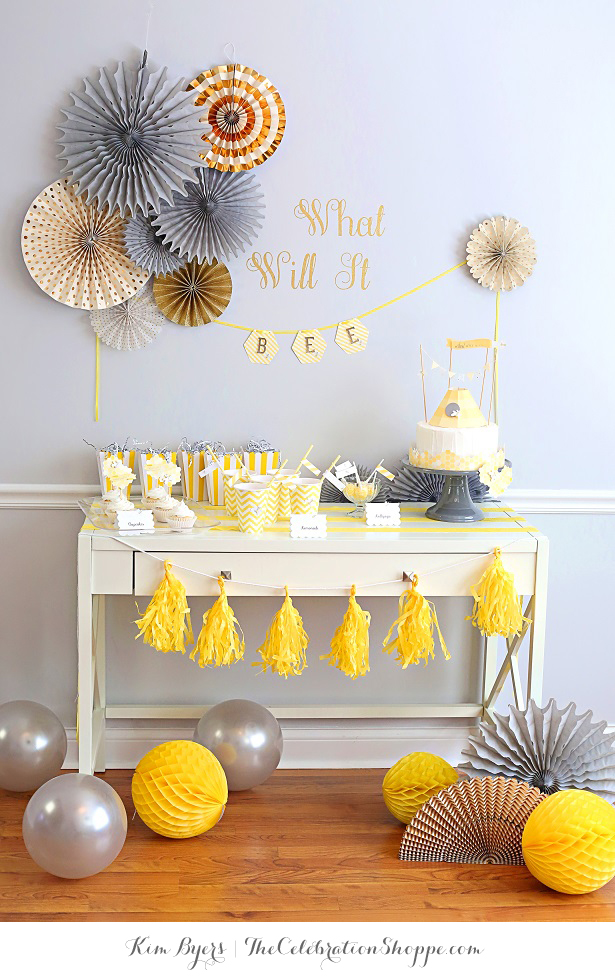 Bee baby shower table yellow gray kim byers 6332wl