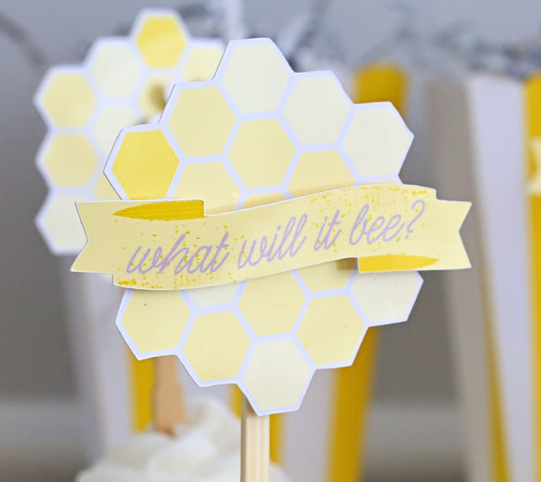 What Will It Bee? Hexagon Hive Cupcakes With Banner | Kim Byers