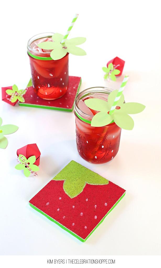 Diy strawberry coaster craft kim byers