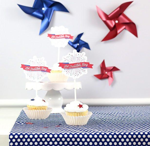 Americana paper craft cupcake topper kim byers
