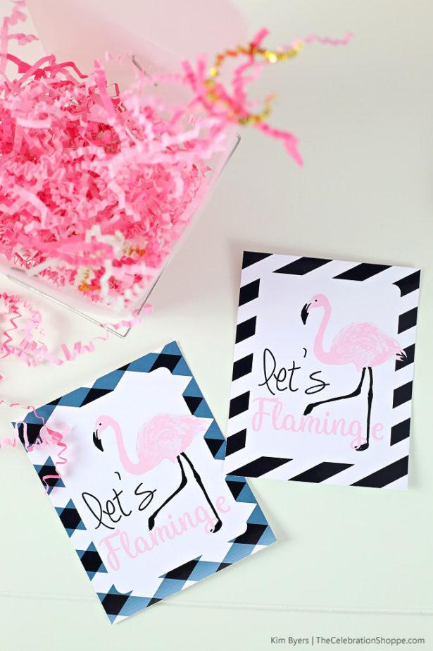 Free Printable Pink & Black Flamingo Favor Tags | Kim Byers