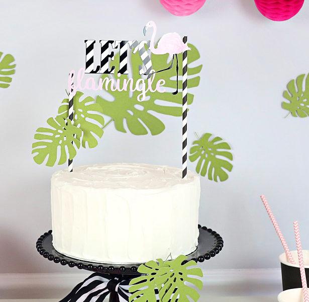 Free printable flamingo cake topper kim byers