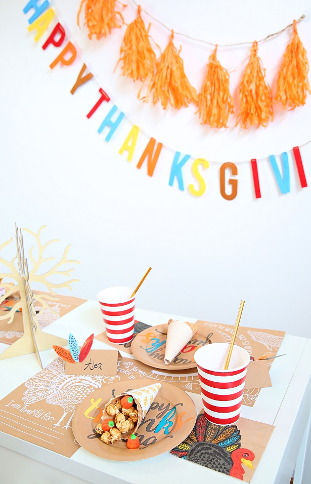 Paper Craft Your Kid Thanksgiving Table | Kim Byers