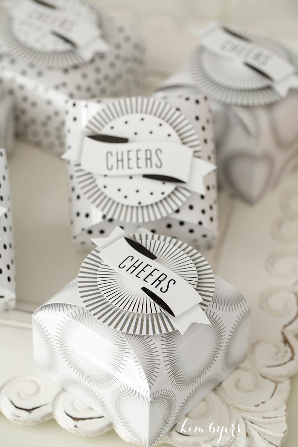 Black and White Cheers Favor Boxes | Kim Byers