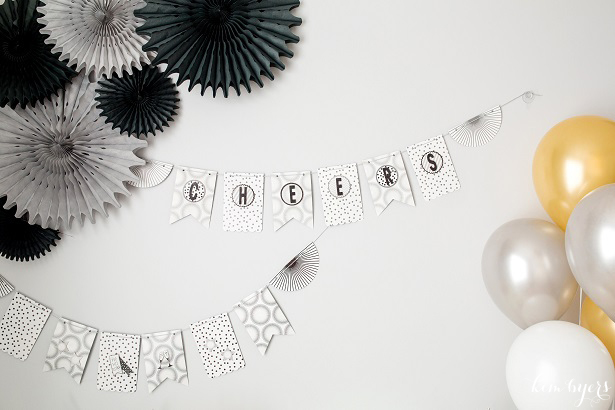 Black and White Glitter Banner | Kim Byers
