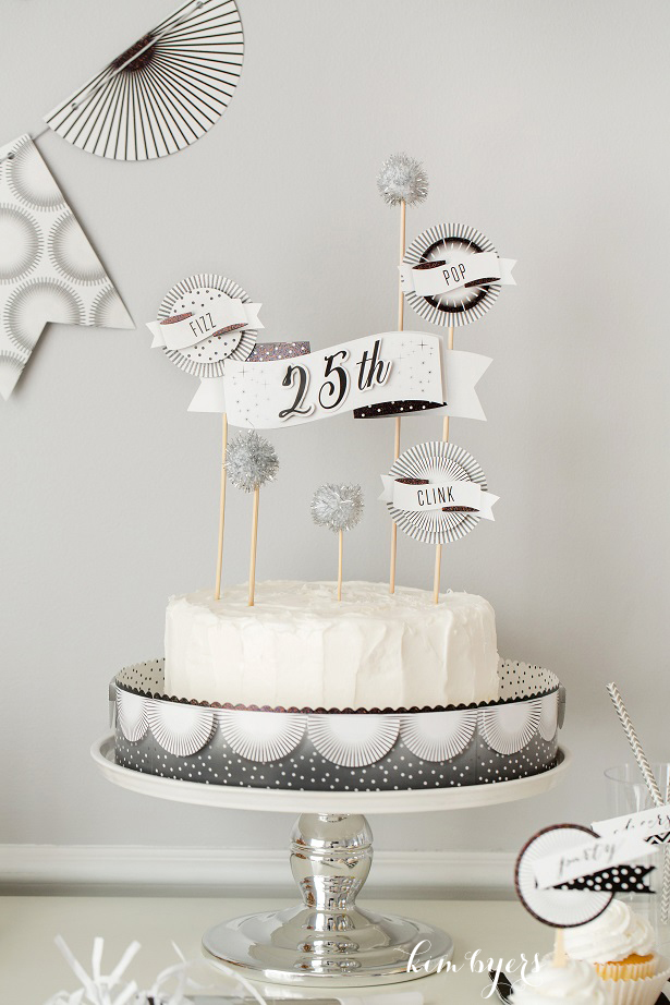 Black and White Customizable Cake Topper | Kim Byers