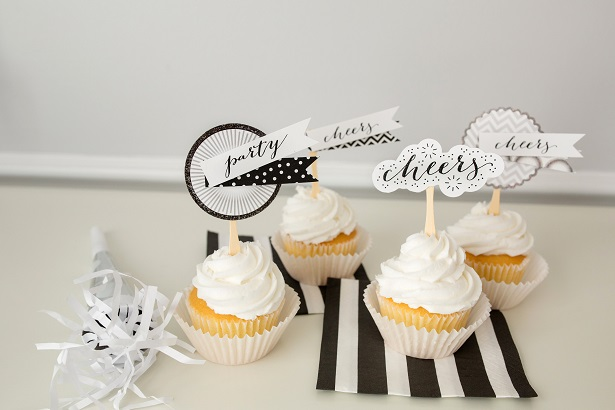 Darling Black and White Cupcake Toppers | Kim Byers