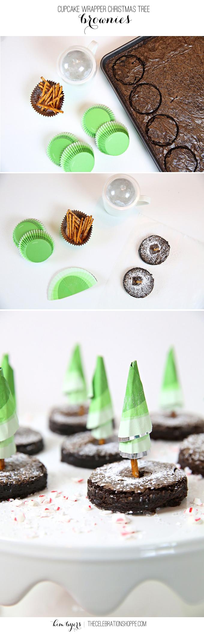 Easy Paper Craft Christmas Tree Brownies | Kim Byers