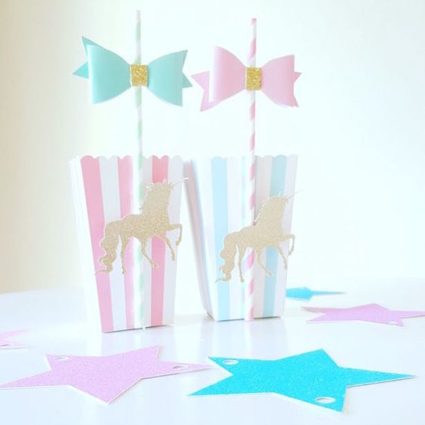 Unicorn party favor boxes glitter party