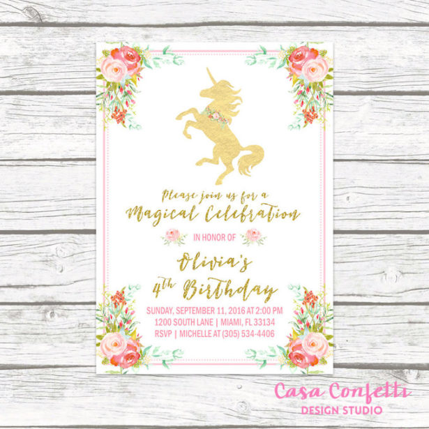 Unicorn party invitation casa confetti