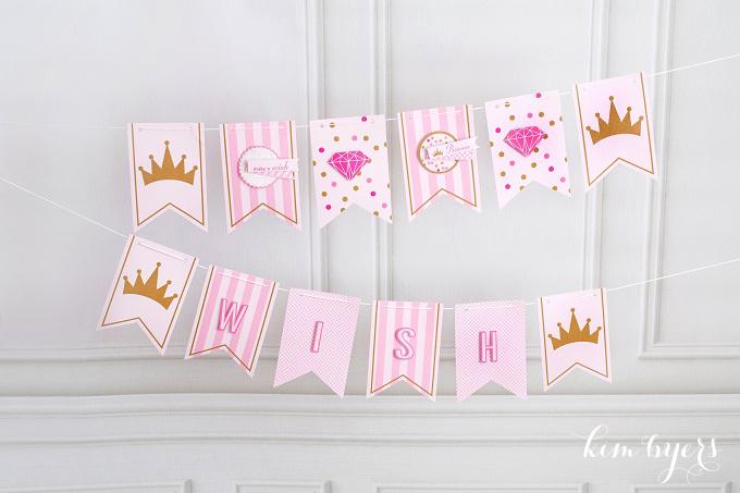Pink Gold Princess Party Banner | Kim Byers