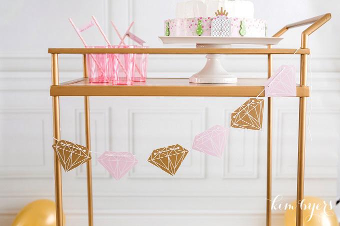 Pink & Gold Diamond Princess Banner | Kim Byers