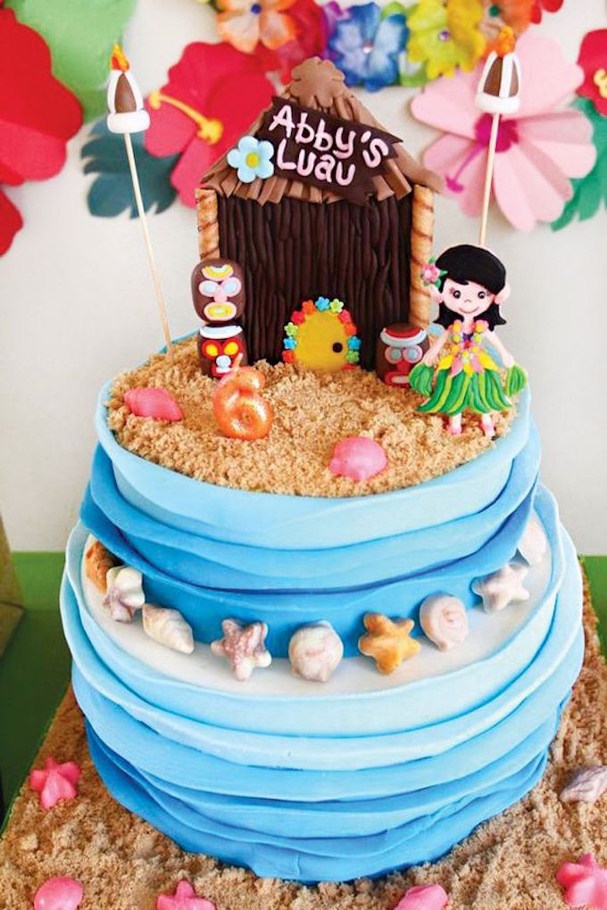 Tropical Hawaiian Luau Birthday Cake