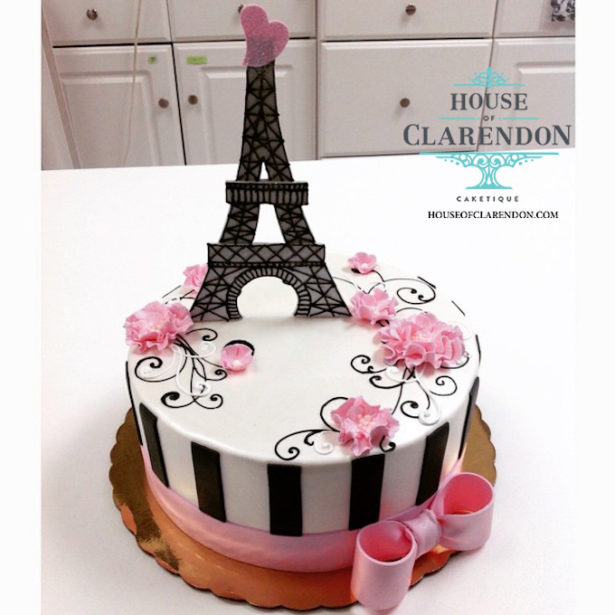Pink and Black Paris Eiffel Tower Cake