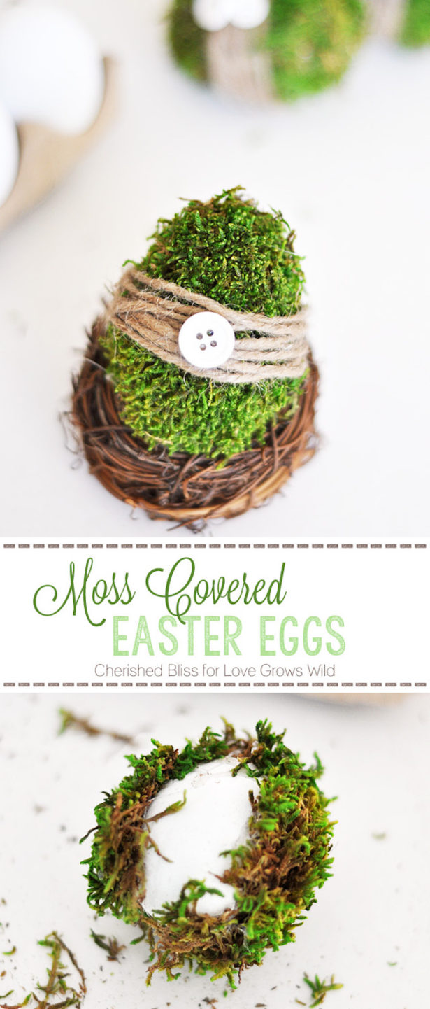 Best Easter Egg Decorating Ideas Moss Covered Eggs Cherished Bliss