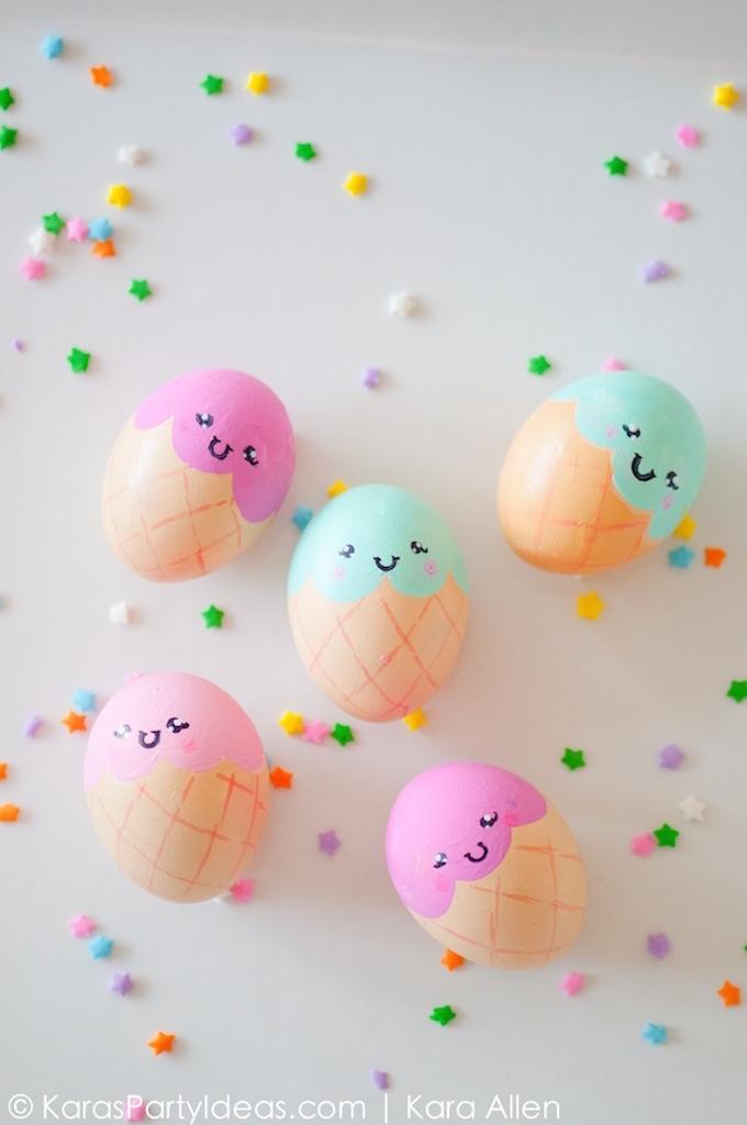 Best Easter Egg Decorating Ideas Kawaii Ice Cream Cone Eggs | Kara's Party Ideas
