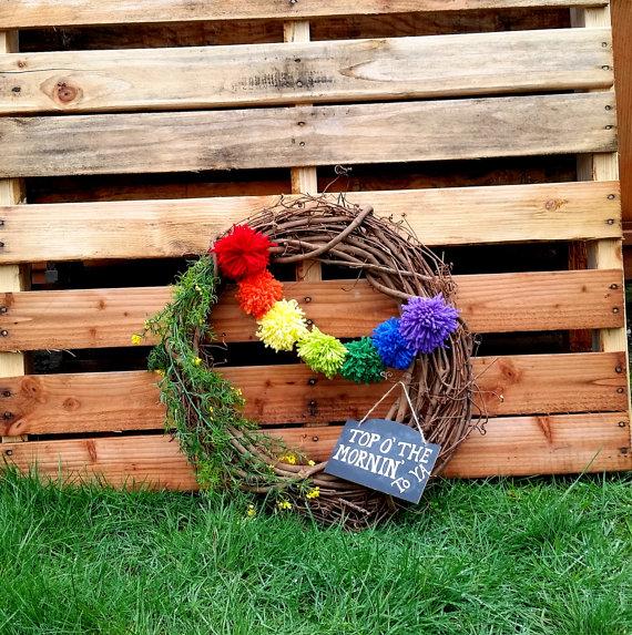 Rainbow Pom Pom St. Patrick's Day Wreath