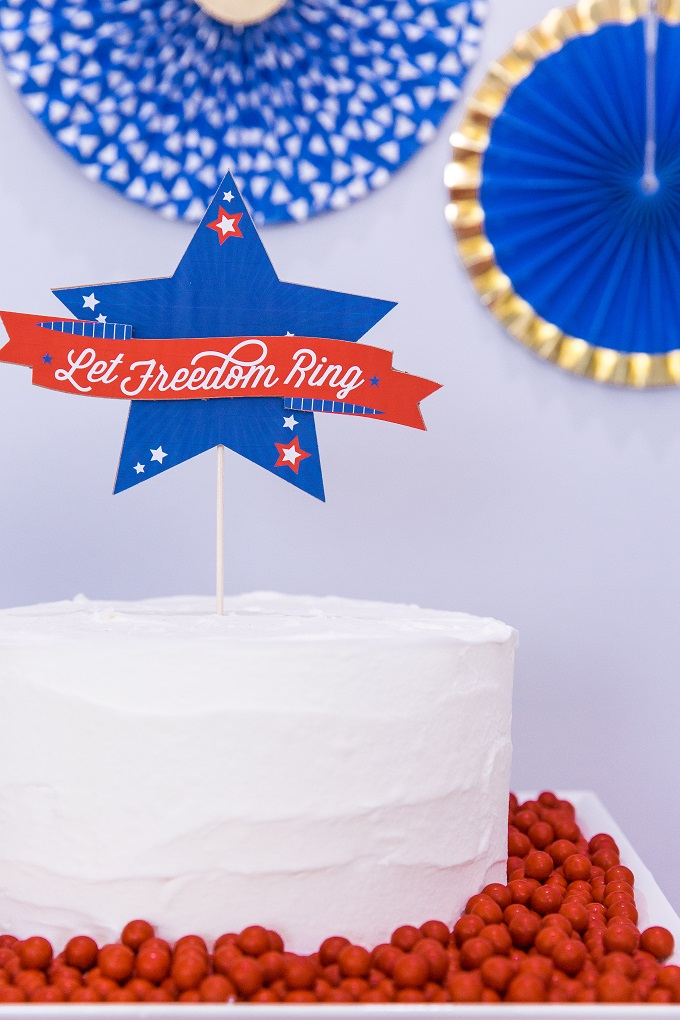 4th of July Cake Topper - Let Freedom Ring - Made with Cricut Maker