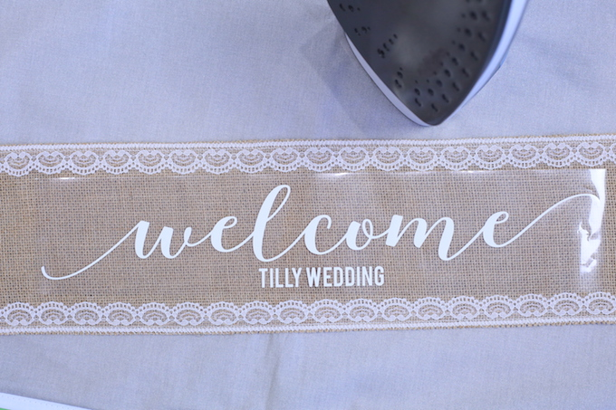 Cricut Wedding Sign On Burlap