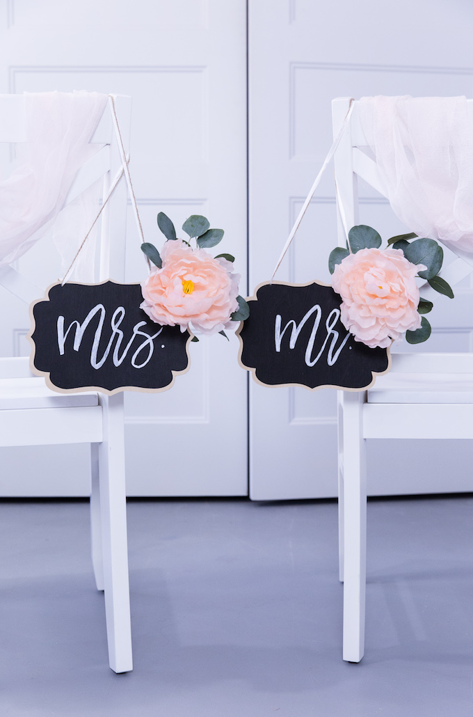 DIY Mr. And Mrs. Signs For Wedding Reception