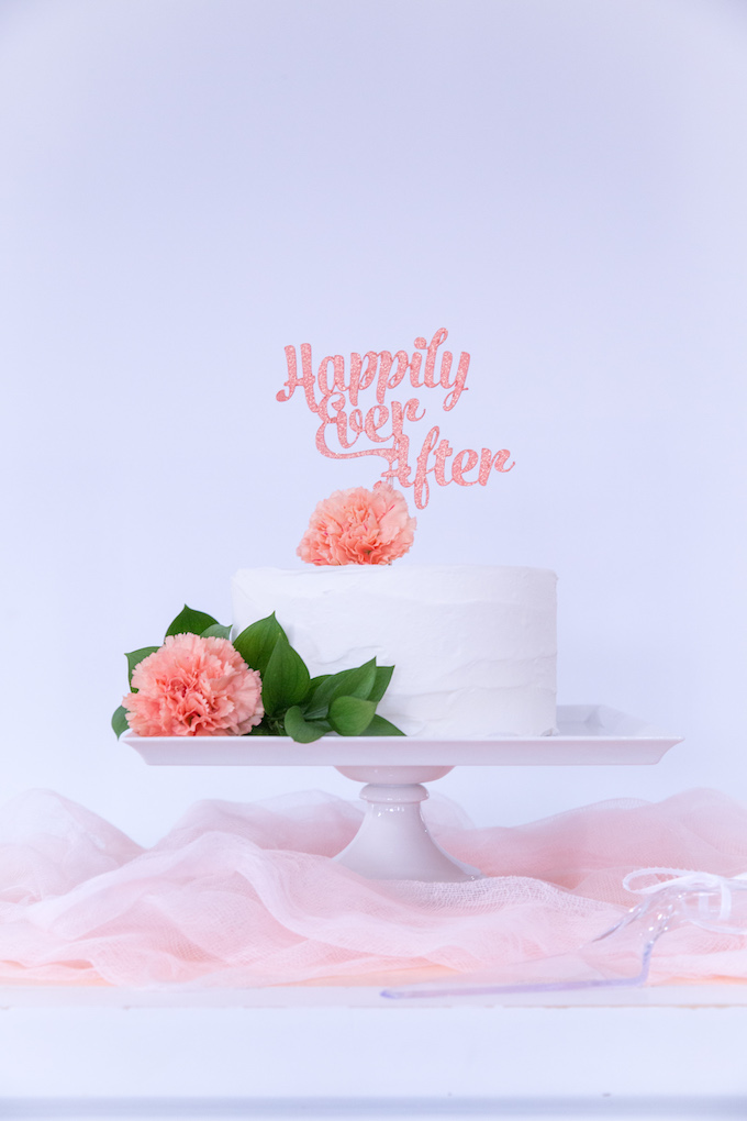 Happily Ever After Cake Topper made with Cricut Maker and the Knife Blade