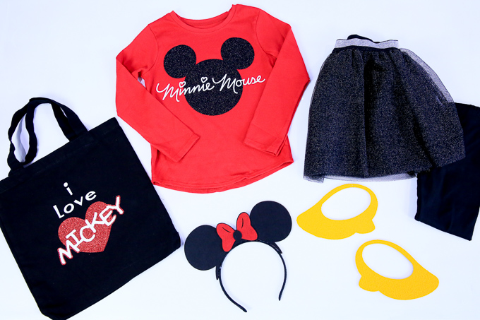 Six Minnie Mouse Halloween Costume Elements