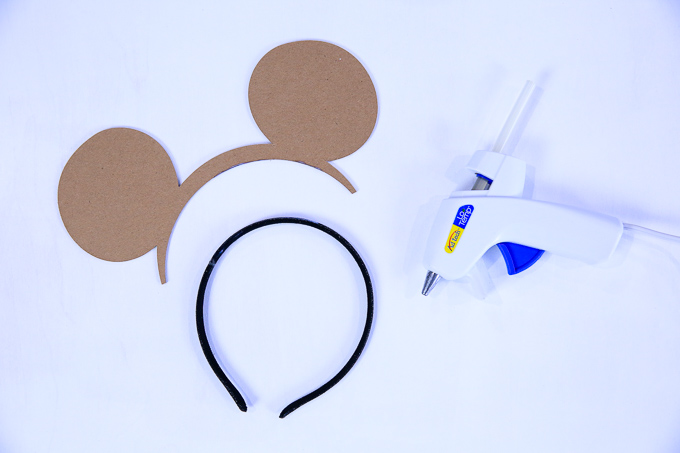 Minnie Mouse Ears - Hot Glue Chipboard To Headband