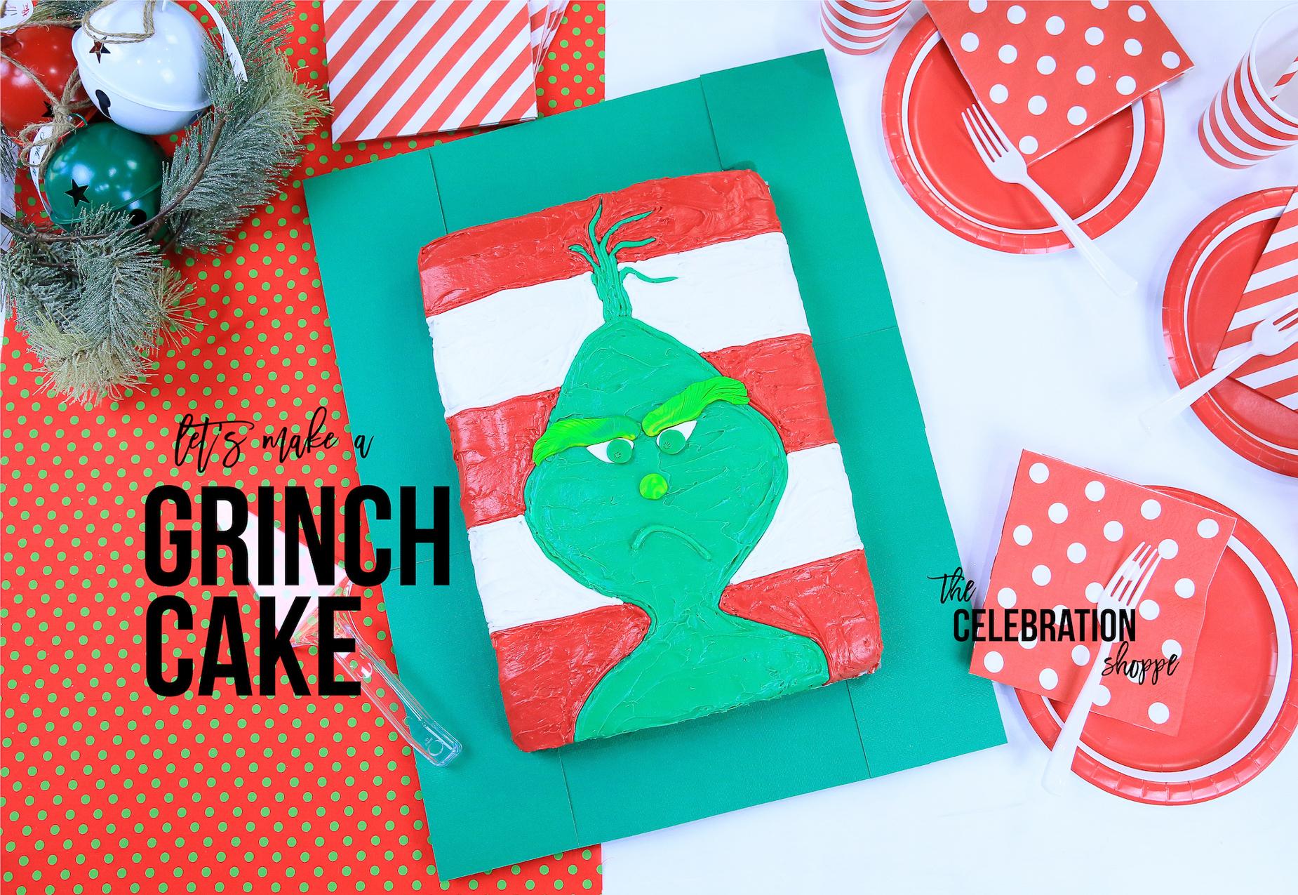 The Grinch Cake - Easy Christmas Sheet Cake