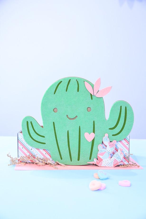 Cactus valentine box cricut maker kim byers