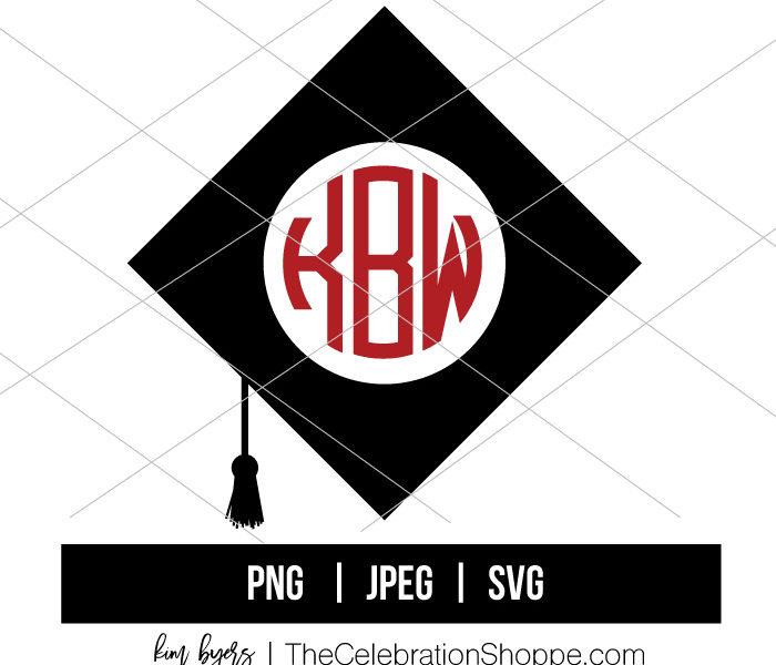 Graduation Cap Monogram Svg Kim Byers Wfp