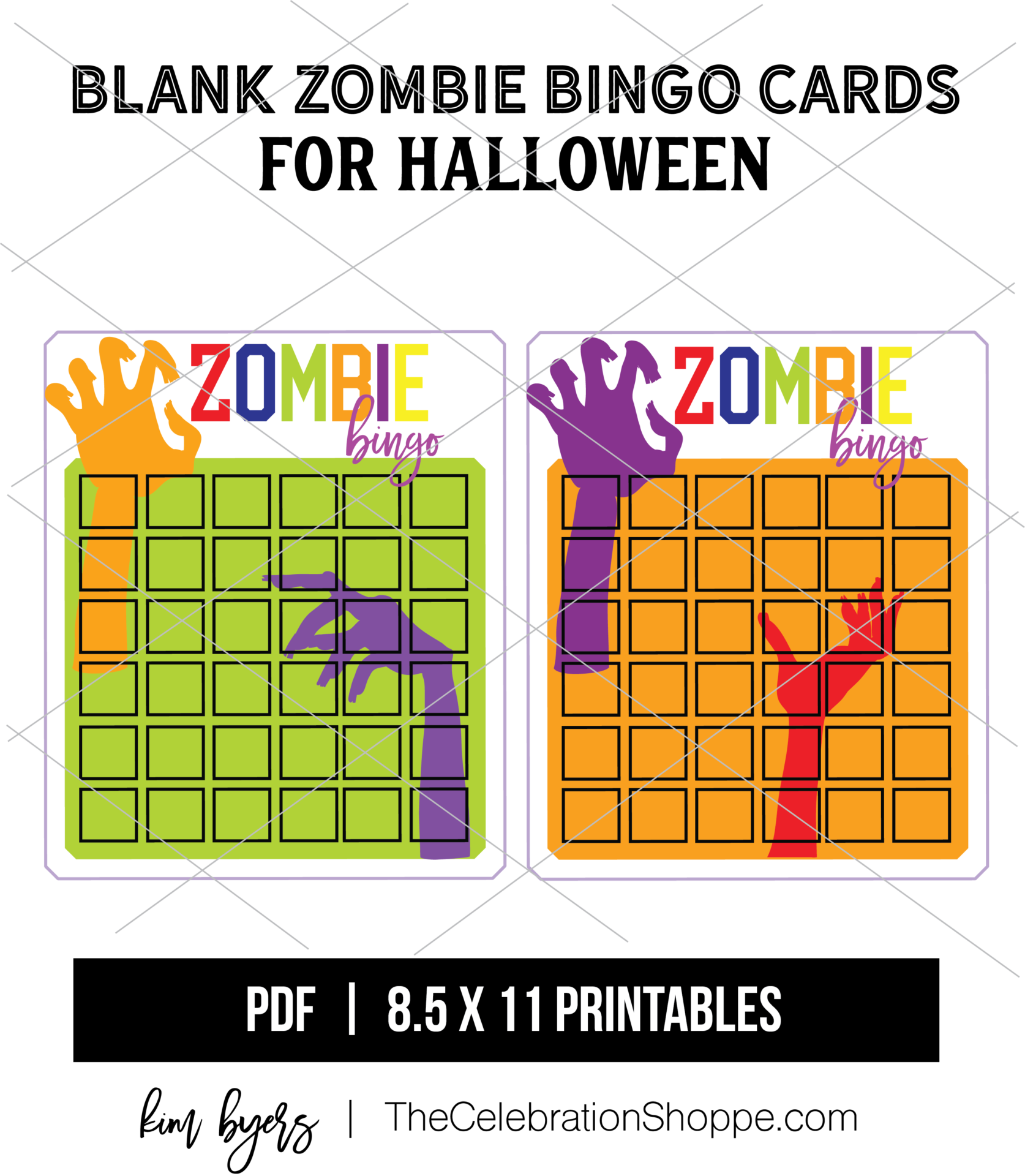 DOWNLOAD FREE Zombie Bingo Cards   Halloween Games   Crafting with Kim Byers at The Celebration Shoppe