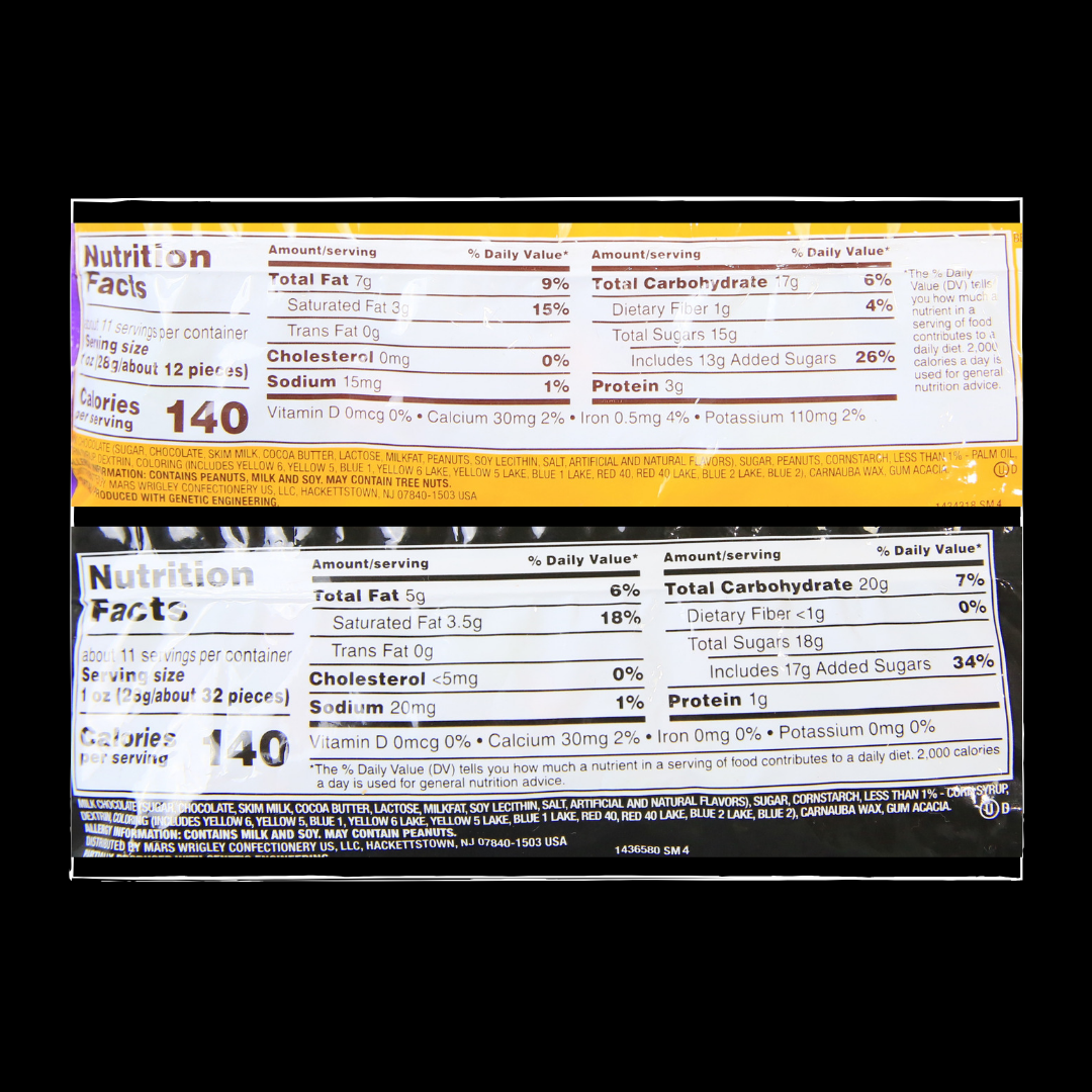 Peanut Plain Mms Nutritional Info